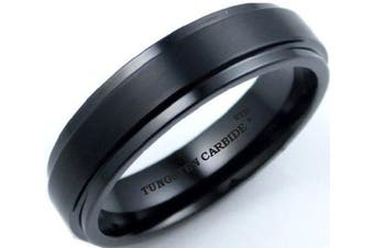 His or Hers Ladies or Mens Black Tungsten Carbide Wedding Engagement Band Ring 6mm Size U -Comes In A Luxury Gift Box - Available In Most Sizes....