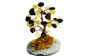 Cute Multicolour Baltic Amber Tree (32 amber leaves), handmade and boxed. Perfect and Unique gift!