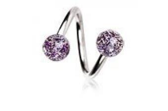 Purple 316L Surgical Steel Twist Spiral With Metallic Glitter Balls Belly Bar Navel Ring Body Bar