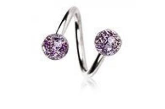 Purple Metallic Glitter Ball 316L Surgical Steel Twist Spiral Belly Bar Navel Ring Body Bar