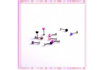 5starwarehouse 10 x Stainless Steel Ball Top Lip Studs Tragus Ear Rings Monroe Bars Labret Body Piercing Jewellery