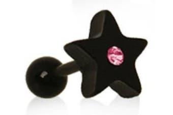 Pink Star Crystal Black Tragus / Cartilage Earring Ear Bar
