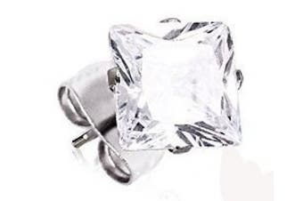 One Pair of 4mm Stunning Diamond Effect Clear Princess Cut Square Crystal Stud Earring.