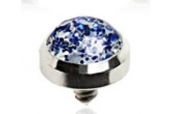Blue Metallic Glitter 4MM Dermal Top Dermal Anchor
