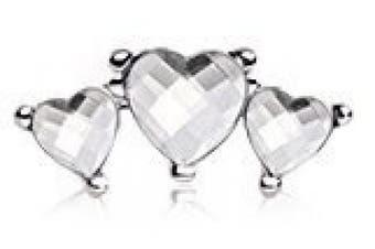 Clear Triple Heart Crystal Tragus / Cartilage Upper Ear Earring Bar