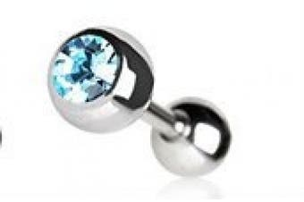 Aqua Cartilage Tragus Earring Ear Bar Ring with Press Fitted Cubic Zirconia Ball.