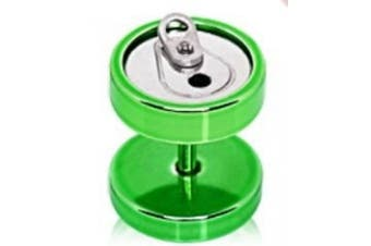 Green Soda Can Titanium Anodized Over 316L Surgical Steel Fake Plug Earring