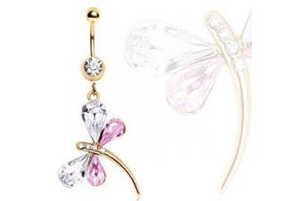 Pink Crystal & Clear Crystal Amazingly Stunning Gold Plated Dragonfly Dangle Belly Bar Navel Ring