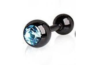 Aqua Press Fit Crystal Black Titanium Tragus / Cartilage Earring Bar Ring