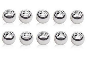 10 X Clear Crystal ( Press Fit ) 316L Surgical Steel Spare Balls 1.6mm x 5mm ( Belly Bar Size )