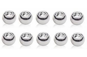 10 X Clear Crystal ( Press Fit ) 316L Surgical Steel Spare Balls 1.2mm x 4mm ( Eyebrow Bar, Tragus / Cartilage Size )