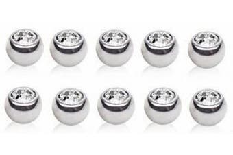 10 X Clear Crystal ( Press Fit ) Spare Balls 316L Surgical Steel 1.2mm x 4mm ( Eyebrow Bar, Tragus / Cartilage Size )