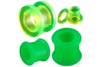 4 Pcs 0g 0 gauge 8mm Green Tunnels Double flared ear plugs Flesh screw Silicone Acrylic HAAK kit stretchers Body Pierced Jewellery