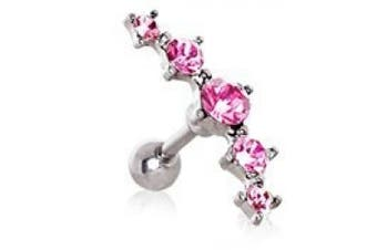 Pink Crystal Curved Five Crystal Tragus / Cartilage Earring Upper Ear Bar