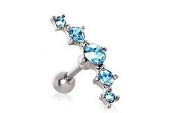 Aqua Crystal Curved Five Crystal Tragus / Cartilage Earring Upper Ear Bar