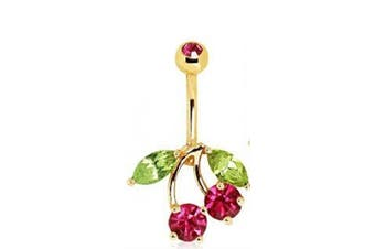 Red & Green Crystal Gold Plated Cherry Belly Bar Navel Ring