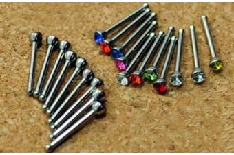 20 x Nose Stud Bar Steel Rhinestone Bone Bars Body Piercing Jewellery Makeup
