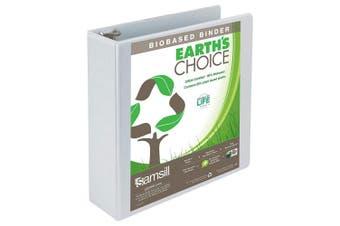 (7.6cm , White) - Samsill Earth's Choice Biobased View Binder, 3 Ring Binder, 7.6cm , Round Ring, Customizable, White