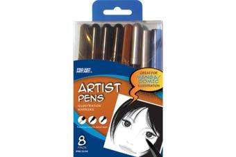 Pro Art Assorted Artists Pens, 8/pkg