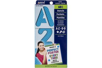 Reusable Letters, Numbers & Shapes Stencils 7.6cm 60/Pkg