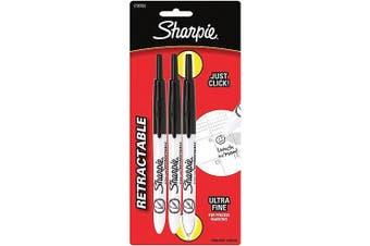 (3, Ultra Fine Point, Black) - Sharpie Ultra Fine Point Retractable Permanent Markers 3/Pkg