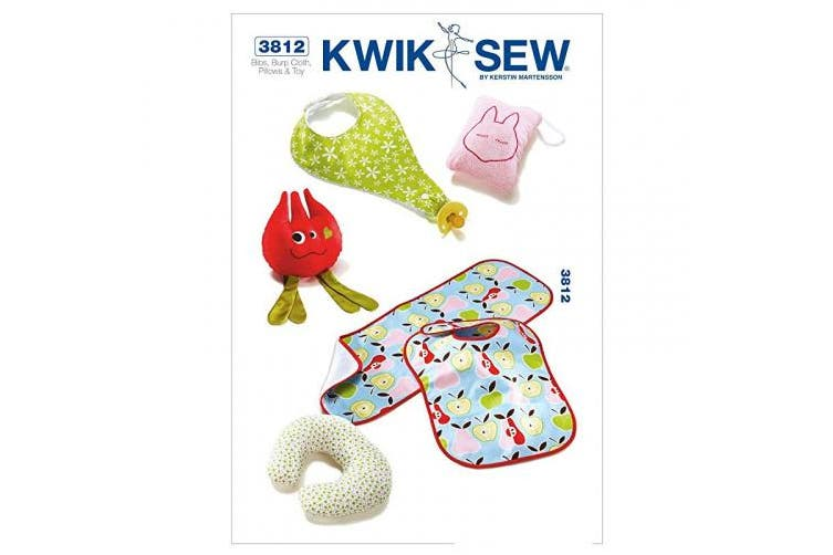 Kwik Sew Pattern Bibs, Burp Cloth, Pillows and Toy