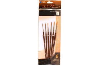 Loew-Cornell 1024927 Studio Elements Golden Taklon Short Handle Round Small Brush Set