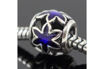 Sapphire Flower Star .925 Sterling Silver charm Fits Pandora, Biagi, Troll, Chamilla and Many Other European Charm #EC 472