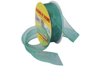 (2.5cm  x 25-Yd, Aqua) - Morex Ribbon Wired 2.5cm Chiffon Ribbon with 25-Yard Spool, Aqua