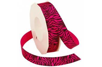 (7/8-Inch by 20-Yard & Hot Pink) - Morex Ribbon Neon Zebra Grosgrain Ribbon