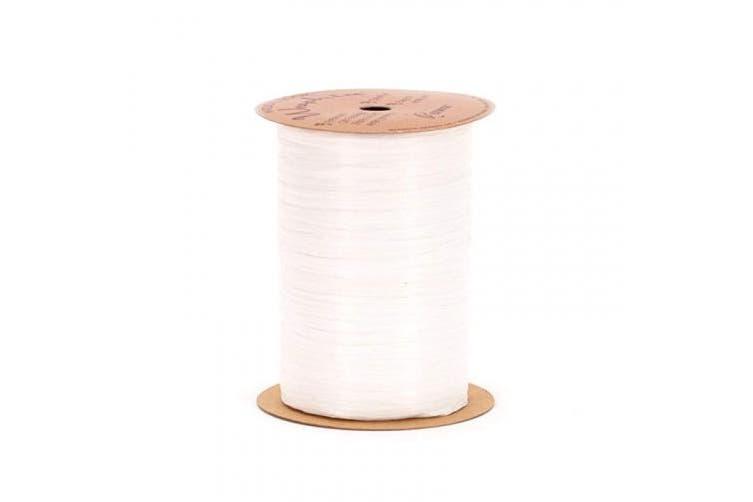 (White) - Berwick Craft Matte 0.6cm Wide Raffia Ribbon, White, 100 Yards