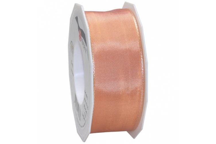 (Apricot) - Morex Ribbon French Wired Lyon Fabric Ribbon, 3.8cm by 27-Yard