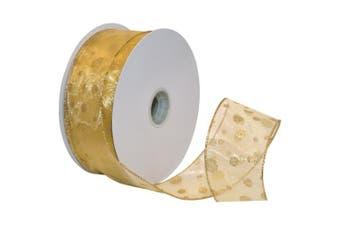 Morex Ribbon Glitter Dots Wired Sheer Glitter Ribbon, 6.4cm by 50-Yard Spool, Gold