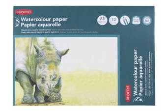 (A3) - Derwent A3 Watercolour Paper Pad, 12 Sheets