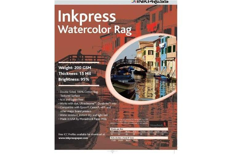 Inkpress LT851125 Fine Art Watercolour Rag 200 22cm . X 28cm . 25 Sheets