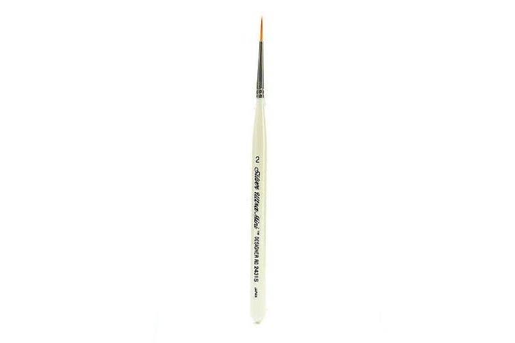 Silver Brush 2431S-2 Ultra Mini Short Handle Golden Taklon Brush, Designer Round, Size 2