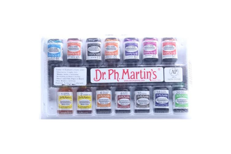 Dr. Ph. Martin's Synchromatic Transparent Water Color, 0.5 oz, Set of 14