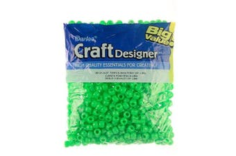 (Lime) - Darice Opaque Lime Green Pony Beads – Great Craft Projects for All Ages – Bead Jewellery, Ornaments, Key Chains, Hair Beading – Round Plastic Bead With Centre Hole, 9mm Diameter, 720 Beads Per Bag