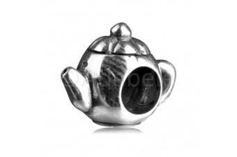 925 Sterling Silver Cute Teapot Bead Fits Pandora, Biagi, Troll, Chamilla and Many Other European Charm #EC11