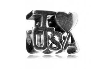 925 Sterling Silver Charm I Love USA Bead Fits Pandora, Biagi, Troll, Chamilla and Many Other European Charm #EC233