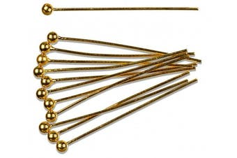 Cousin Gold Elegance 14K Gold Plate Ball Pin, 12-Piece, 25mm