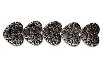 Cousin Jewellery Basics 5-Piece Silver Deco Heart Bead