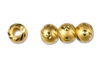Cousin Gold Elegance 14K Gold Plate Carved Bead No.3, 4-Piece