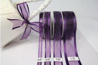 (Plum/Eggplant) - Plum Organza Ribbon With Satin Edge-25 Yards X 1.6cm