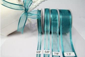 (Teal) - Teal Organza Ribbon with Satin Edge-25 Yards X 1.6cm