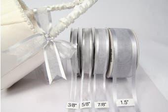 (Silver) - Silver Organza Ribbon With Satin Edge-25 Yards X 1.6cm