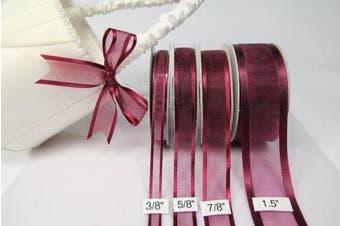 (Burgundy) - Burgundy Organza Ribbon With Satin Edge-25 Yards X 1.6cm
