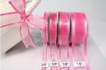 (Hot Pink) - Hot Pink Organza Ribbon With Satin Edge-25 Yards X 1.6cm