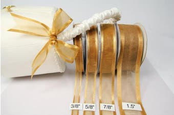 (Old Gold) - Old Gold Organza Ribbon With Satin Edge-25 Yards X 1.6cm