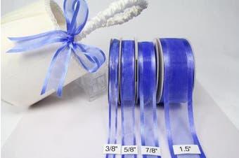 (Royal Blue) - Royal Blue Organza Ribbon with Satin Edge-25 Yards X 1.6cm